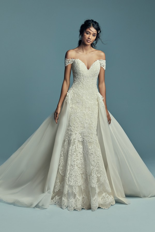 Stephanie Wedding Dress with Train from the Maggie Sottero Lucienne Fall 2018 Bridal Collection