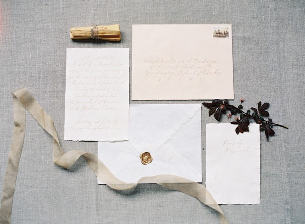 Simple wedding stationery with script writing