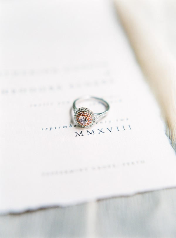 Wedding ring on top of invitation