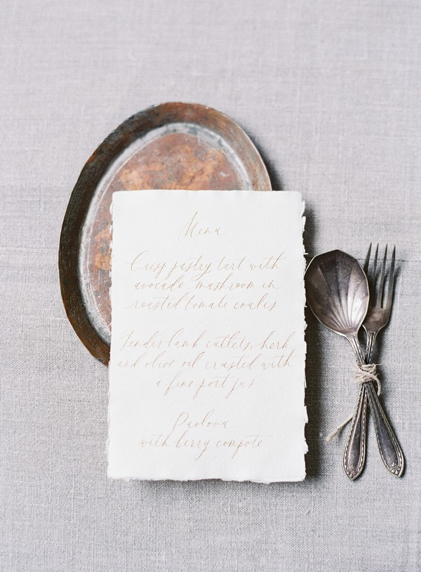 Wedding menu with script writing