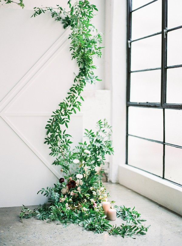 Trailing foliage wedding backdrop