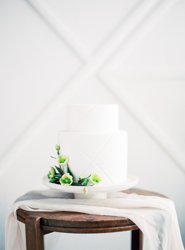 White wedding cake with blind embossing