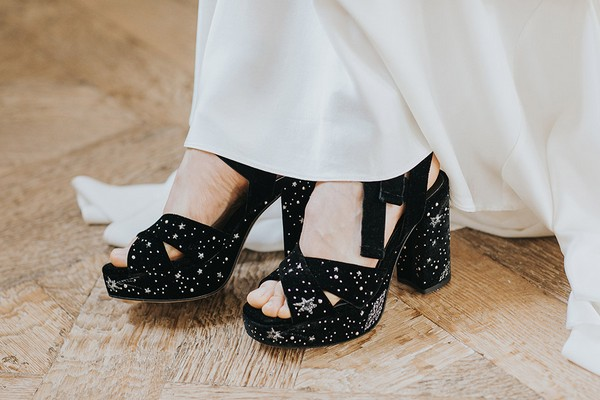 Black wedding shoes with stars