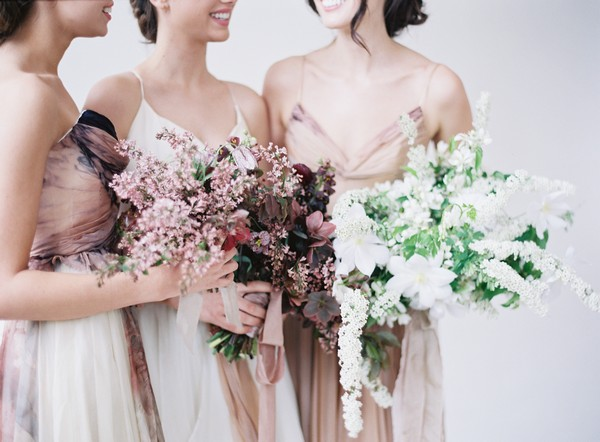 Blush, mauve and white bridal bouquets