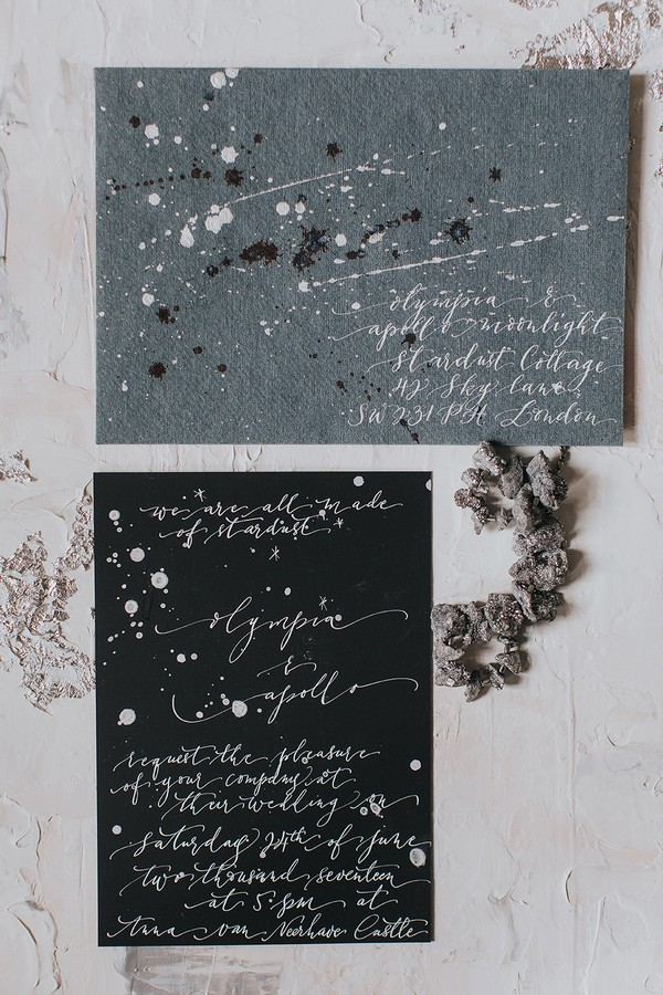 Grey and black celestial wedding stationery