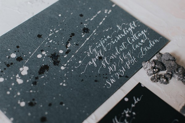 Grey celestial themed envelope for wedding invitation