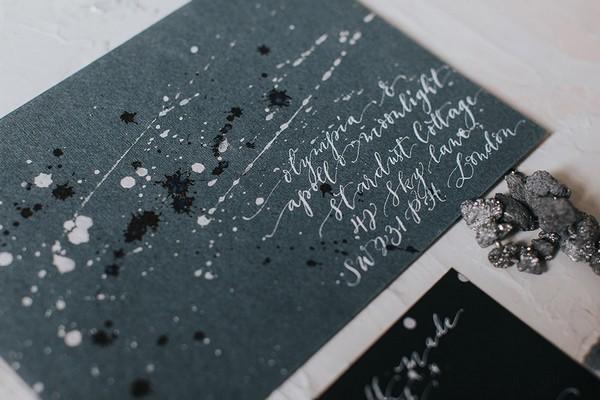 Grey celestial themed envelope for wedding invitation