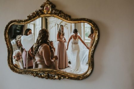 Reflection in mirror of wedding morning bridal preparations - Picture by Andy Turner Photography