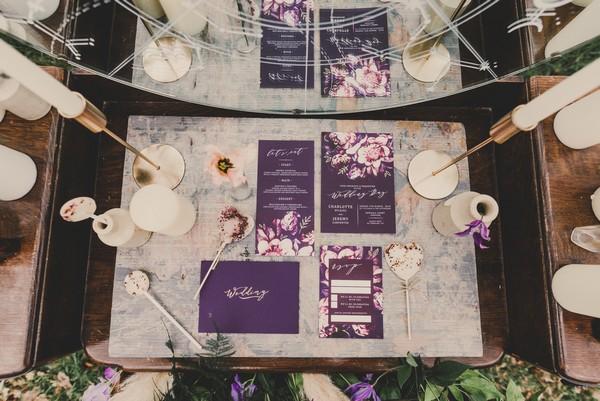 Ultra violet wedding stationery