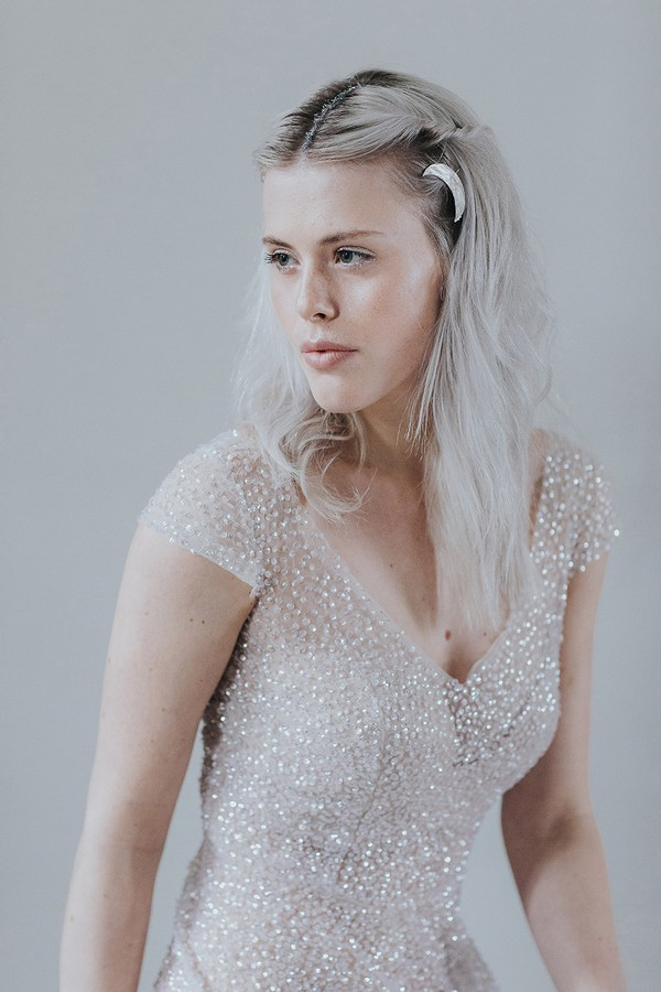 Bride wearing sparkly wedding dress
