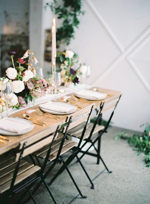 Wooden wedding table and chairs with metal legs