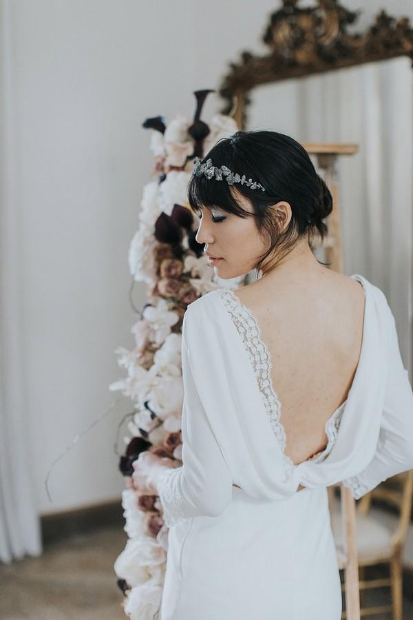 Cowl back of bride's wedding dress