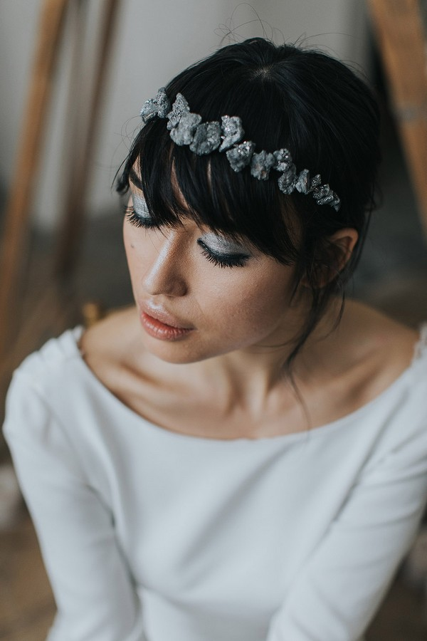 Bride wearing headband