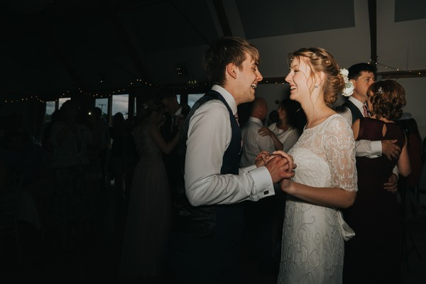 Bride and groom dancing
