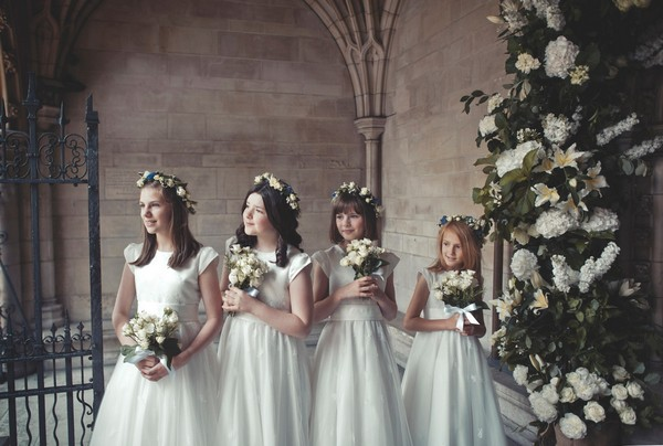 Row of young bridesmaids - Picture by Bethany Lloyd-Clarke Photography