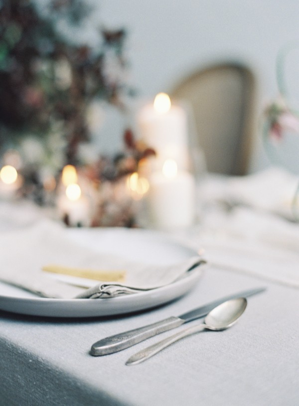 Pewter cutlery on wedding table
