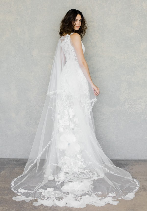 Back of Gypsy Moon Wedding Dress with Cape from the Claire Pettibone The White Album Spring 2019 Bridal Collection