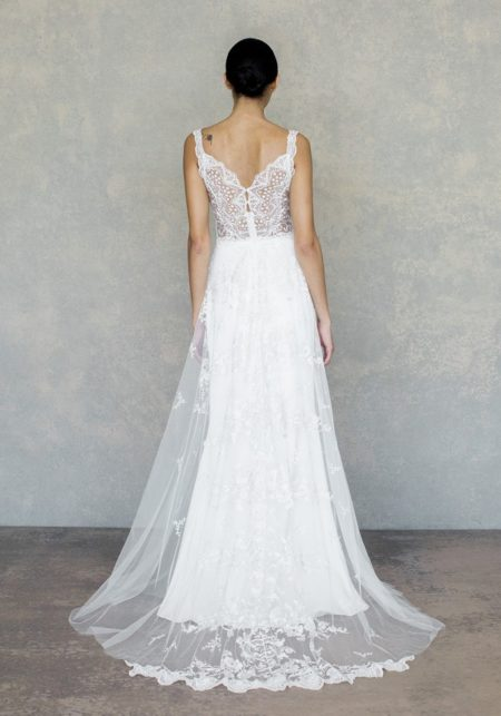 Back of Gypsy Rose Wedding Dress in Ivory from the Claire Pettibone The White Album Spring 2019 Bridal Collection