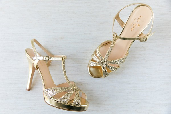 Gold Kate Spade wedding shoes