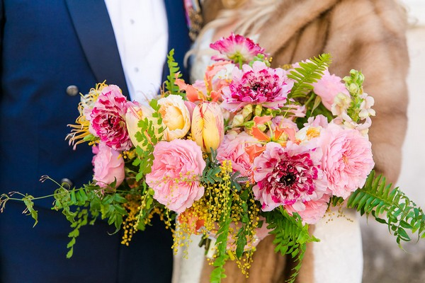 Bride's bright, colourful wedding bouquet