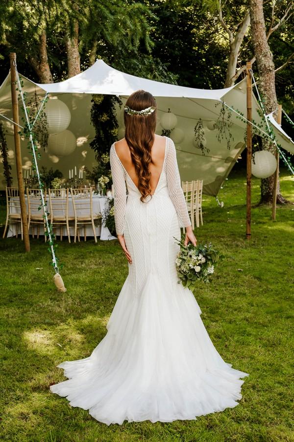 Back of bride's wedding dress with V back