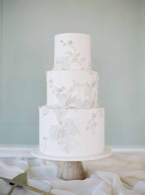 Wedding cake with elegant leaf detail