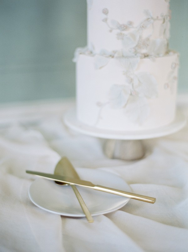 Gold knife and cake slice