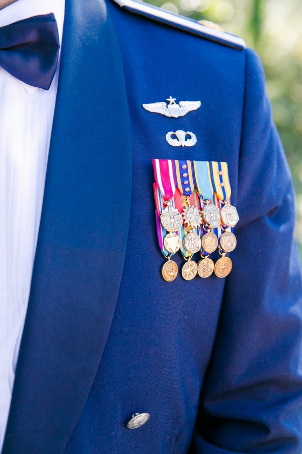 Medals on groom's military uniform