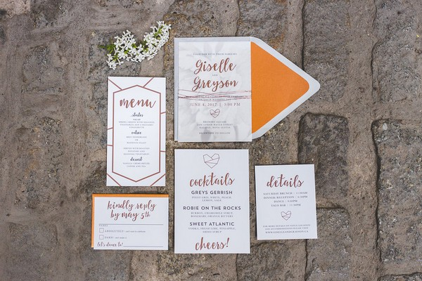 Wedding stationery suite with copper detail