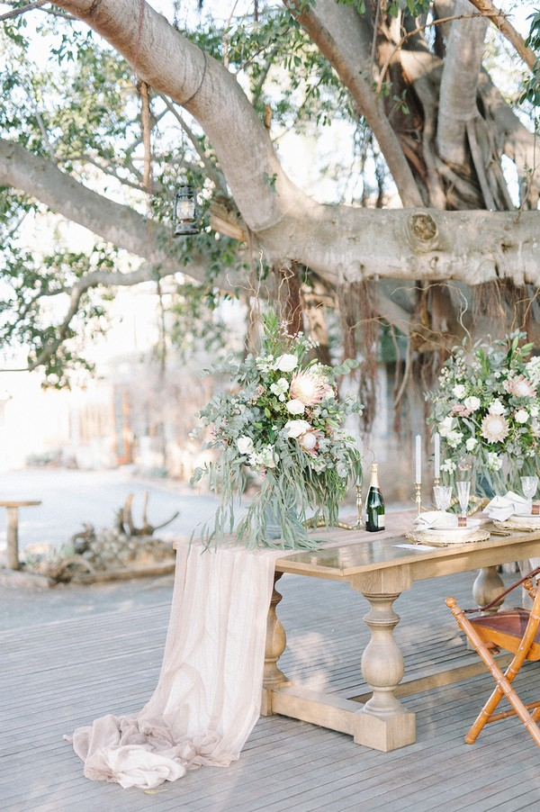 Small wedding table in South African bush
