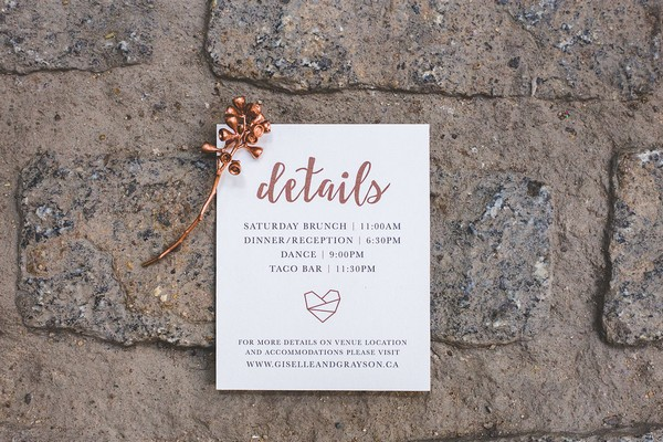 Wedding details card with copper writing