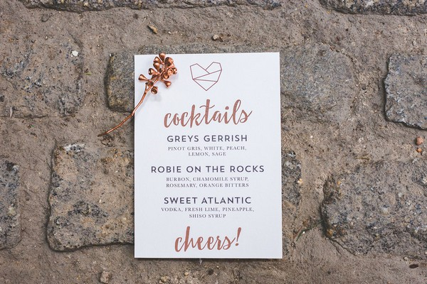 Wedding cocktail menu with copper writing