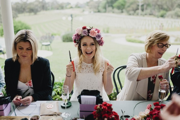 Bride-to-be on hen party wearing floral crown