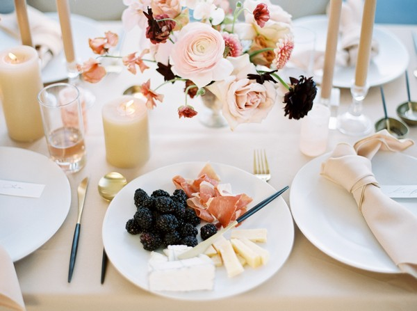 Wedding plate with blackberries, meats and cheese