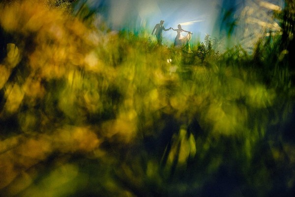 Picture taken through grass of bride and groom on a hill - Picture by Steven Rooney Photography