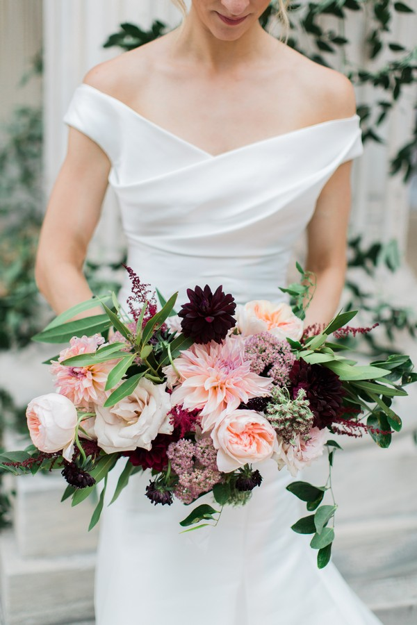 Bride's bouquet with pink and burgundy flowers