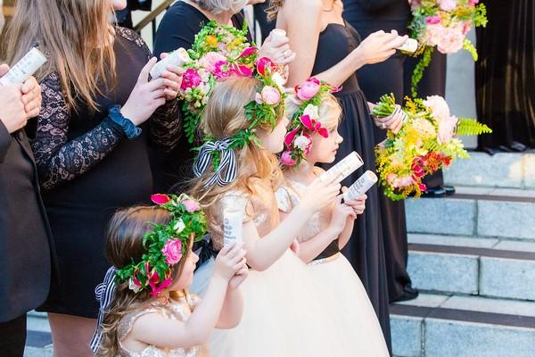 Flower girls with streamer pops