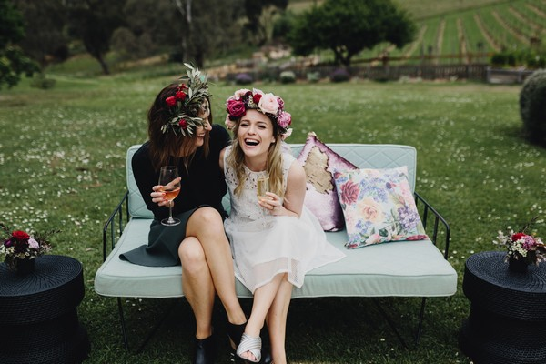 Bride-to-be laughing with friend