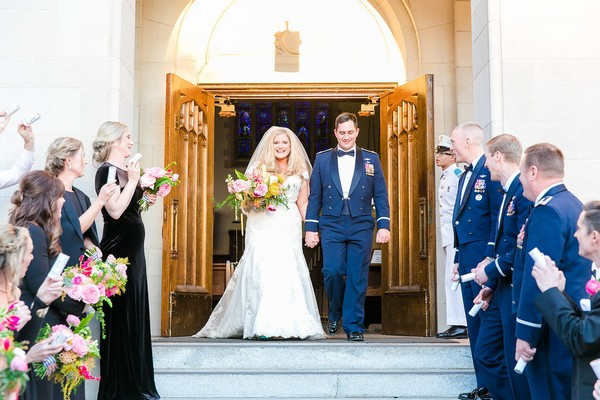 Bride and groom leaving Summerall Chapel