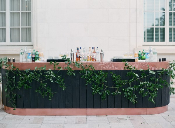 Wedding bar with foliage front