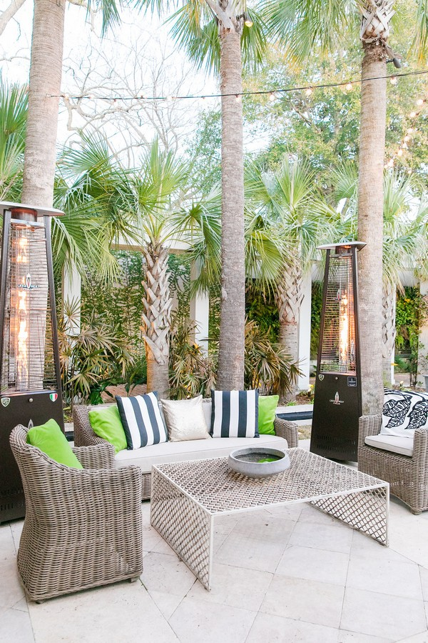 Wedding chill out area with Kate Spade striped cushions