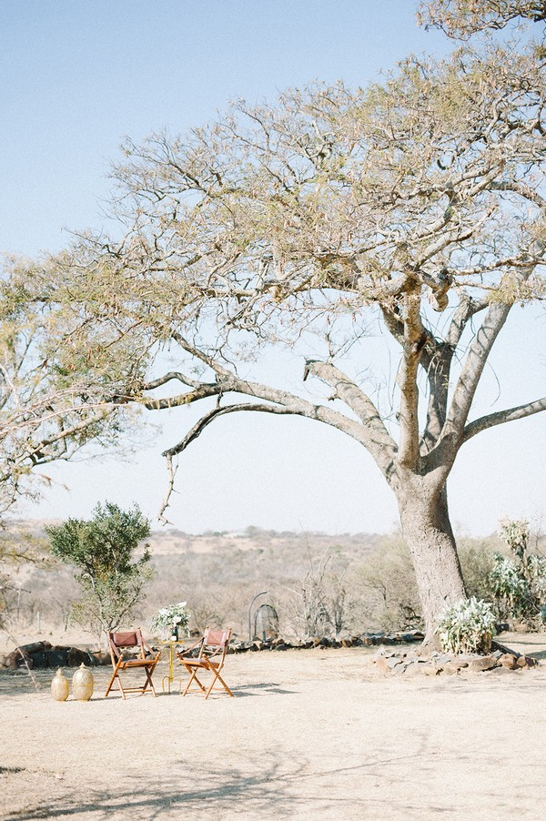 Small table under tree at Nambiti Private Game Reserve
