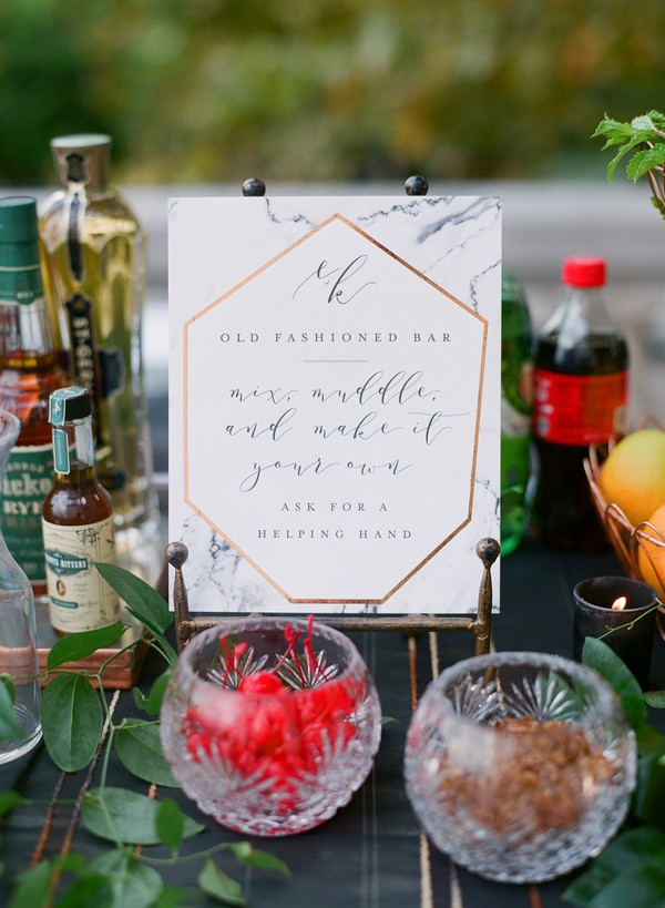 Make your own cocktail sign and ingredients