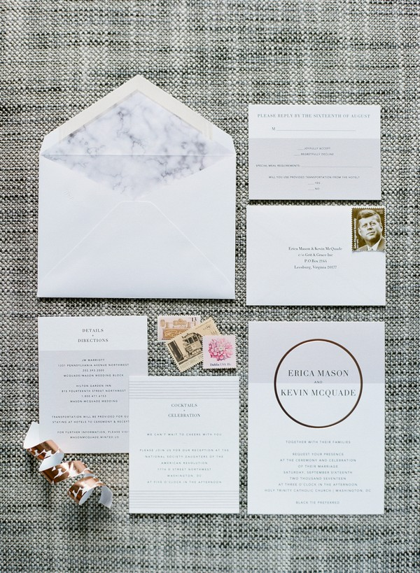 Wedding stationery with marble and copper details