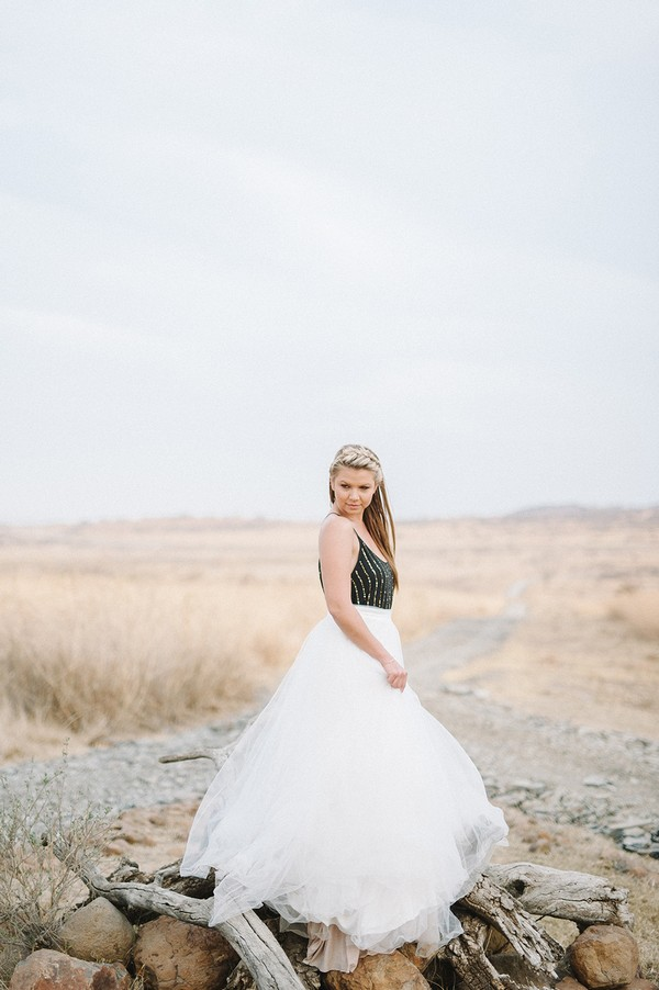 Bride with black top in South African bush