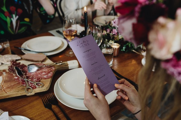 Foodie hen party menu