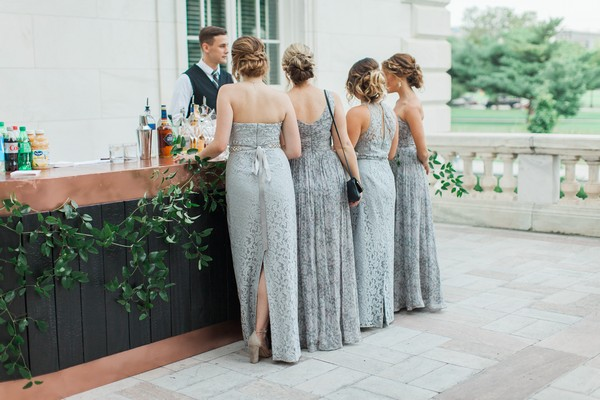 Bridesmaids at bar