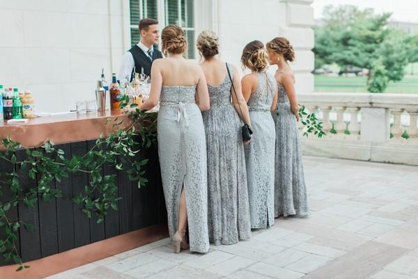 Bridesmaids at bar