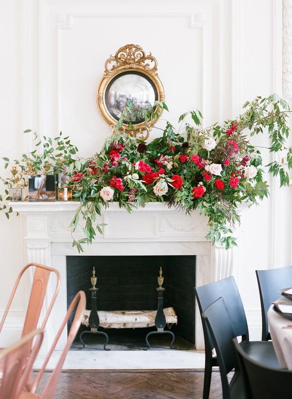 Wedding flowers on mantelpiece