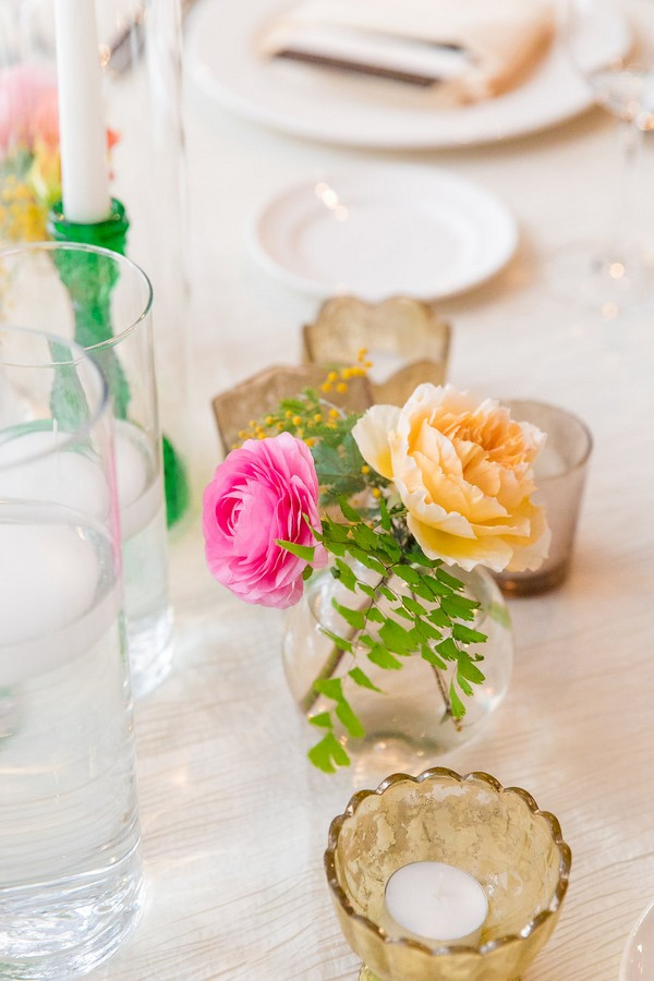 Pink and peach wedding table flowers